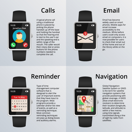 unread: Smartwatch. Receiving calls and unread messages, navigation map, calendar