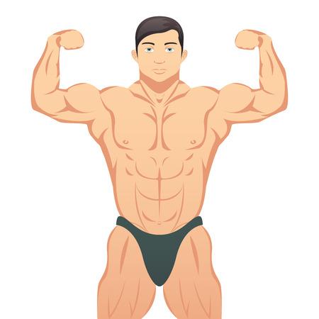hombre fuerte: Músculos Bodybuilder que muestra