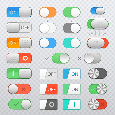 button: Toggle switch set, On and Off sliders, vector elements