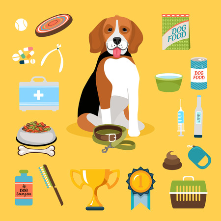 Set of dog life icons. Pet and canned, syringe and shampoo, bowl and tongs. Vector illustration Vector