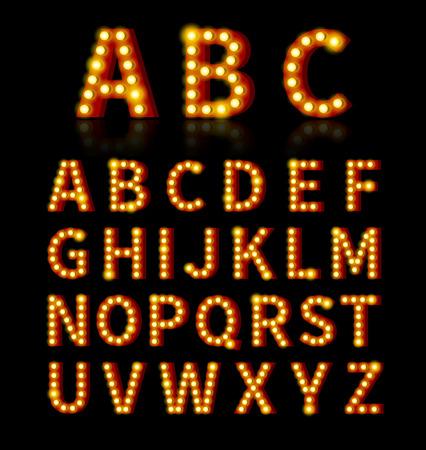 neon alphabet: Lightbulb font