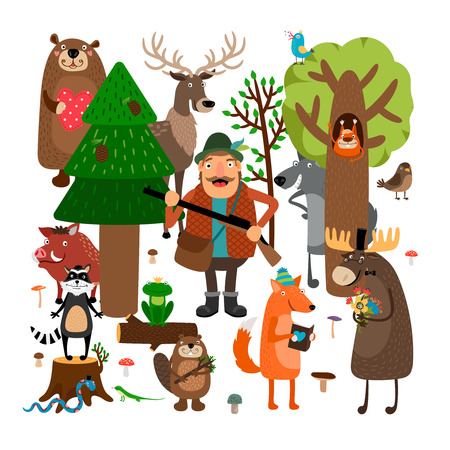 Forest animals and hunter. Vector illustration Stock Illustratie