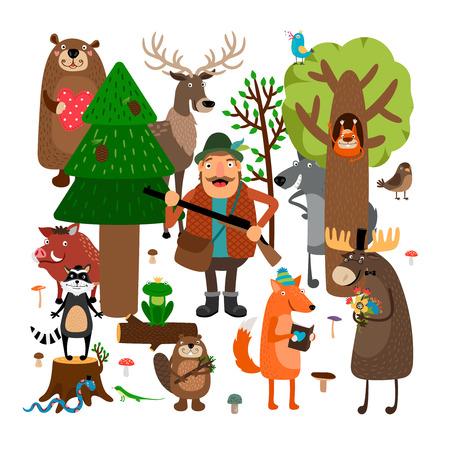 cazador: Los animales del bosque y cazador. Ilustración vectorial