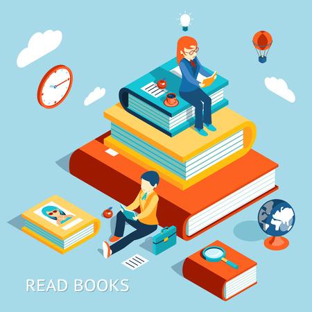 studium: Číst knihy koncept Ilustrace