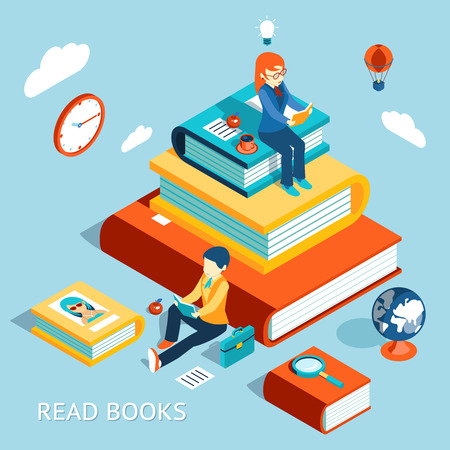 thinking student: Read books concept Illustration