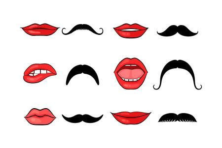 Lady lippen en gentleman snorren Stock Illustratie