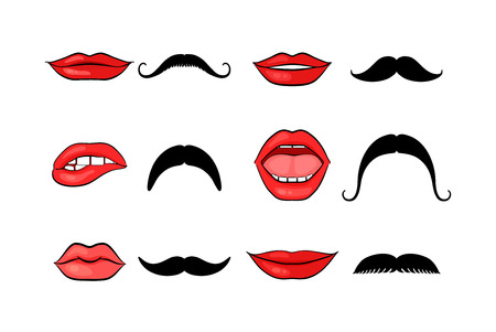 white moustache: Lady lips and gentleman mustaches Illustration
