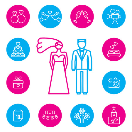 marriage bed: Wedding, bride and groom flat icons set