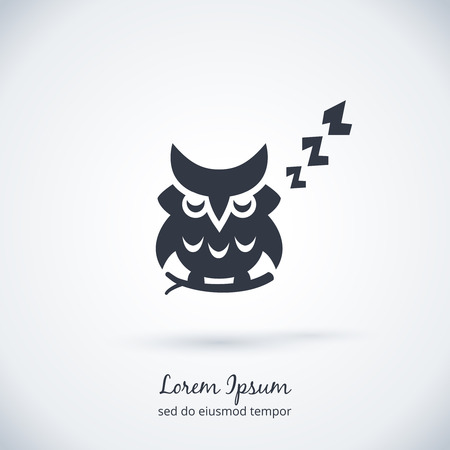 bird shadow: Sleeping owl logo. Dream concept icon
