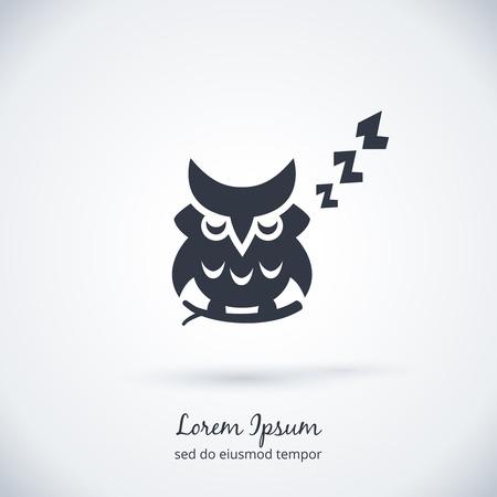 outline bird: Sleeping owl logo. Dream concept icon