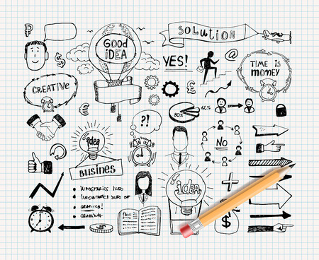 Business idea doodles Vektoros illusztráció
