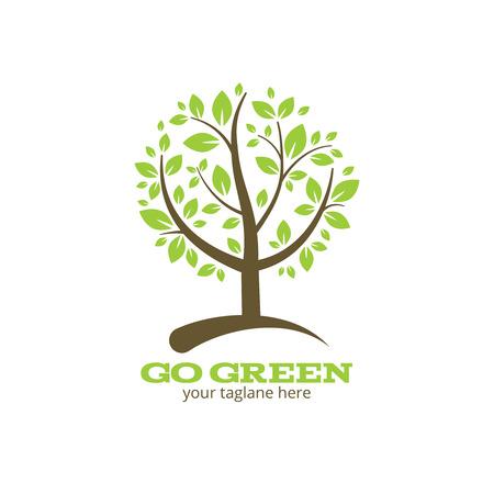 arbol de problemas: Ir árbol verde icono ilustración Vectores