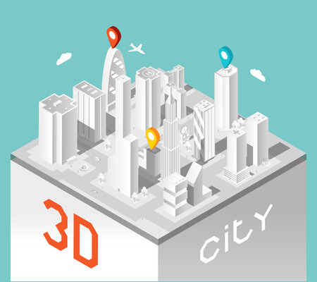 Paper 3d city. Isometric buildings landscape