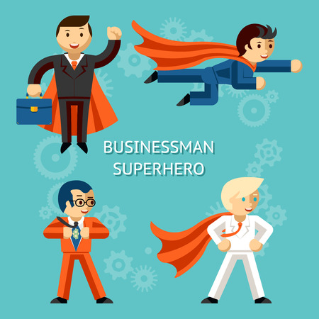 Business superheroes characters Illustration