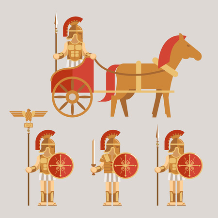 roman mythology: Ancient wariors icons with sword or spear and shield on chariot Illustration