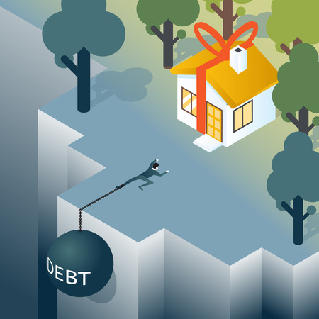 burden: Businessman or consumer with debt weight is climbing out of the abyss