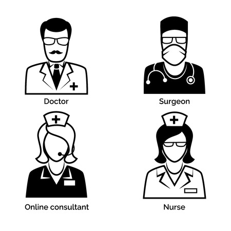 physician: Medical staff icons. Doctor, nurse, surgeon and physician