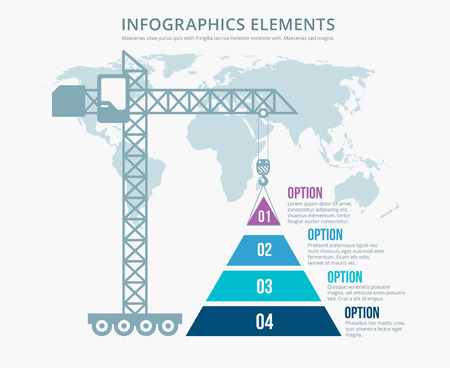 construction crane: Pyramid chart options construction infographics Illustration