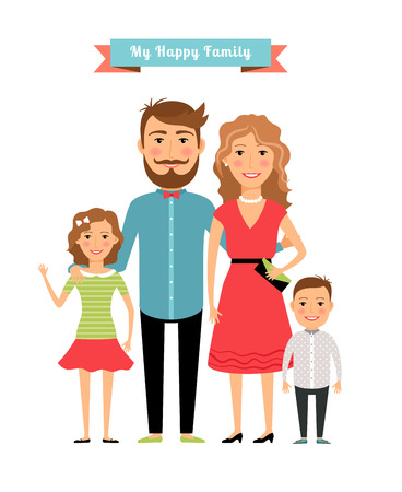 husband and wife: Happy family. Parents and kids Illustration