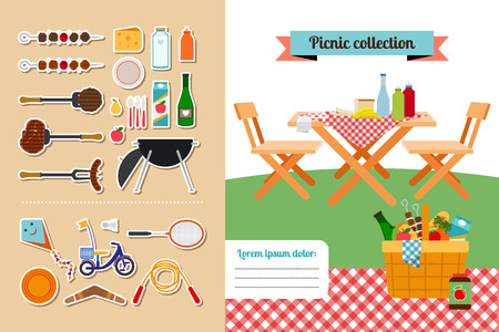 picnic tablecloth: Picnic elements collection Illustration