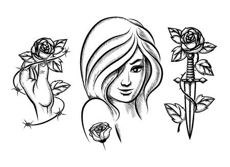 mujer con rosas: Tatuajes. Muchacha de la belleza, un cuchillo, se levant� y alambre de p�as Vectores