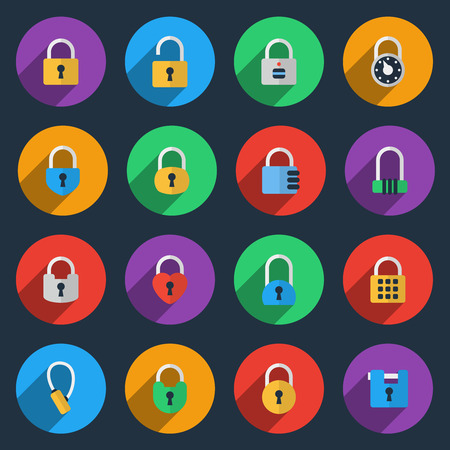 combination lock: Padlock icons in flat style