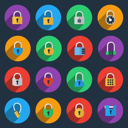 code lock: Padlock icons in flat style