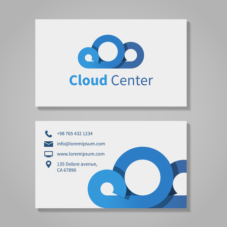 clouds: Cloud computing center business card template