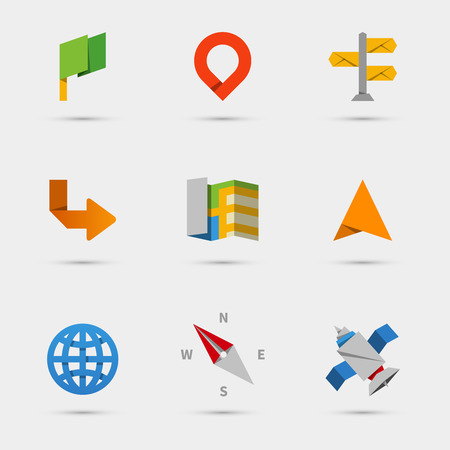 direction of: Map, location and navigation icons in flat paper style Illustration