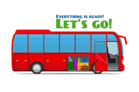 passenger compartment: Luggage in tourist bus Illustration