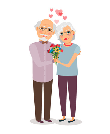 happy old age: Happy senior couple Illustration