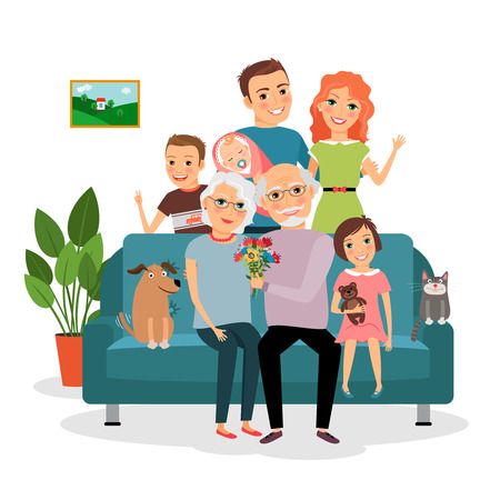 animal family: Family on sofa Illustration