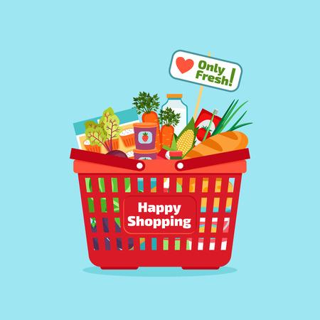 supermercado: Comercial Supermercado cesta con alimentos frescos y naturales
