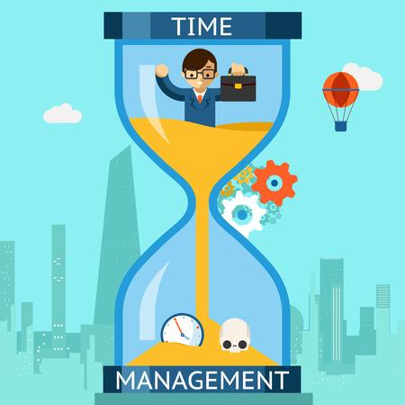 reloj de arena: Gestión del tiempo. El hombre de negocios que se hunde en el reloj de arena