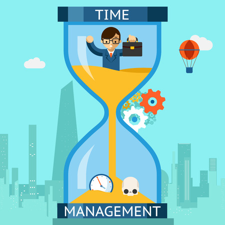 Time management. Businessman sinking in hourglass Stock Illustratie