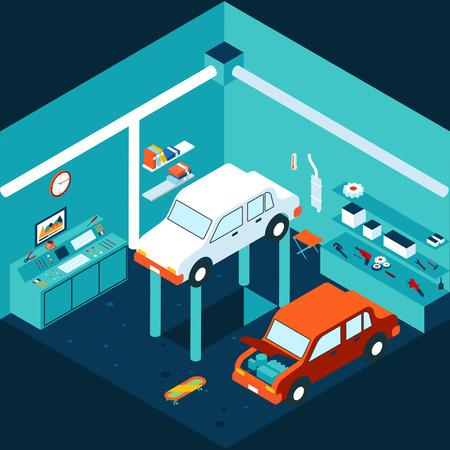 garage automobile: Isom�trique garage 3d r�paration automobile Illustration