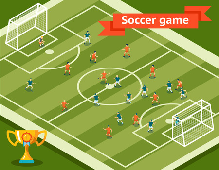 football kick: Soccer game. Football field and players