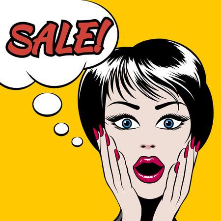 woman hands up: Comics style woman with SALE bubble