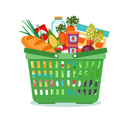 supermercado: Cesta con la ilustración vectorial de alimentos