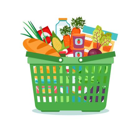 Cesta de compras con comida ilustración vectorial