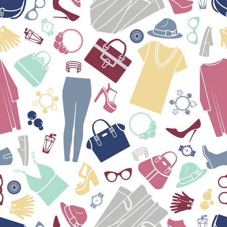 fashion vector: Fashion shopping icons seamless vector background