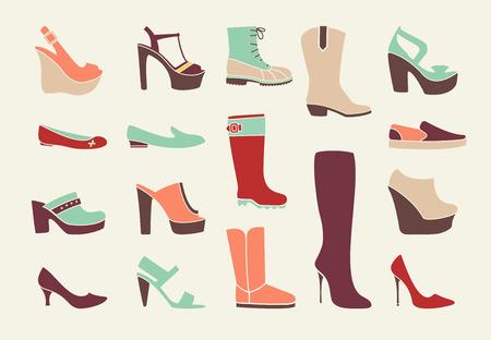 tienda de zapatos: Las mujeres planas de los zapatos Vectores