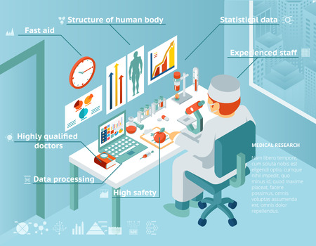 health care research: Healthcare and medical research infographics Illustration