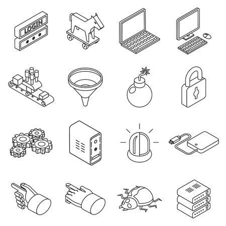 password protection: Data protection technology and web business security icons. Isometric 3d thin line style