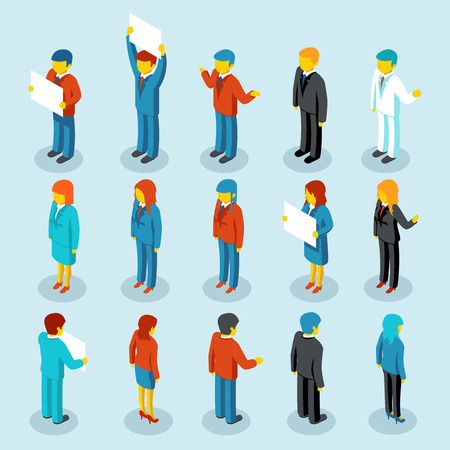 Business people isometric 3d vector figures Illustration