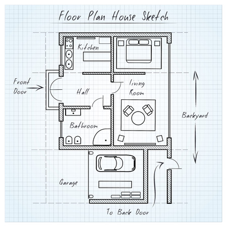 garage on house: Floor plan house sketch
