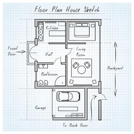 Piso bosquejo de la casa plan de Foto de archivo - 38425631