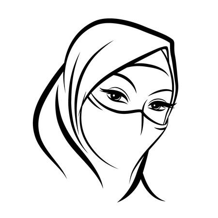 femme dessin: Visage arabe femme musulmane