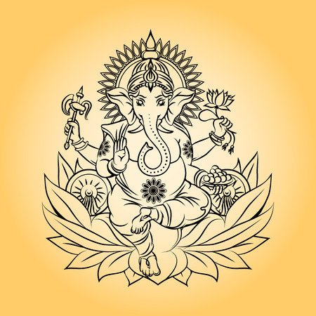 head light: Lord ganesha indian god with elephant head Illustration