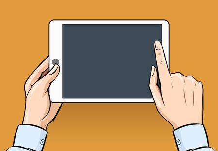 digital tablet: Hands holding and touching on digital tablet in vintage style Illustration